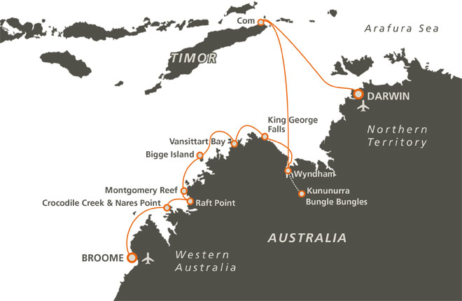 Map of 10 Night Art of Arnhem Land