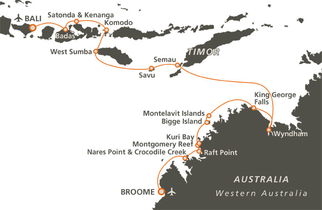 Map of 14 Night Kimberley with Spice